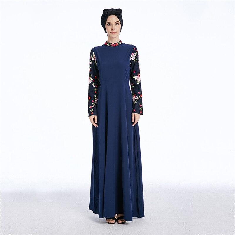 Muslim Abaya Embroidery Maxi Dress Crepe Cardigan Full-length Long Robe Gowns Tunic Kimono Jubah Ramadan Arab Islamic Clothing