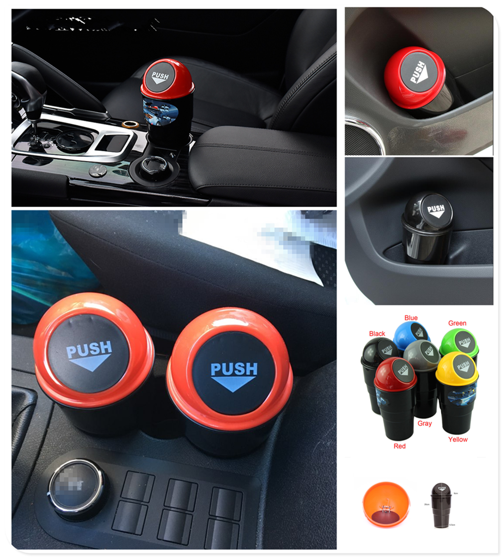1 uds, piezas de coche, mini cubo de basura redondo, contenedor con forma de caja para Kia KND-4 Spectra5 Spectra Rio5 Trackster