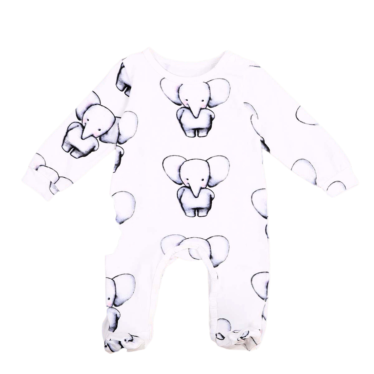 Cute Newborn Toddler Baby Boy Elephant Print Clothes Cotton Long Sleeve   Romper   Jumpsuit Playsuit Outfits