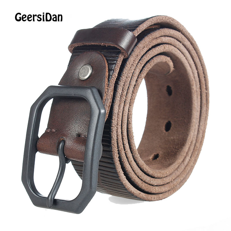 GEERSIDAN High quality genuine leather men's belt designer luxury strap male belts for men fashion vintage pin buckle for jeans