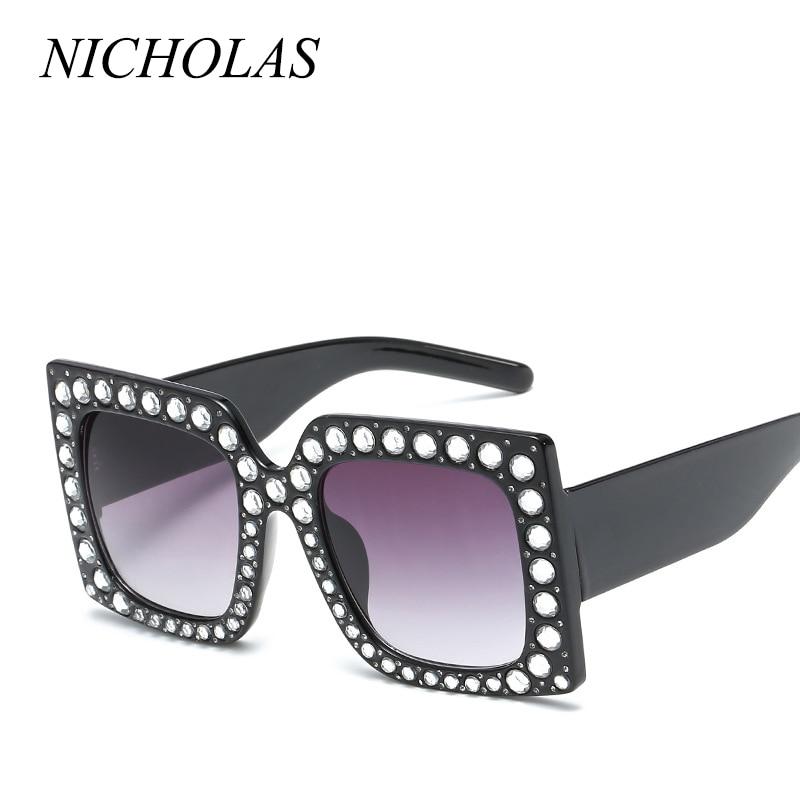 539a05c81b4 NICHOLAS Oversized Square Diamond Sunglasses Women Street shoot Vintage  Retro Sun glasses Women Eyewear Oculos De Sol Feminino