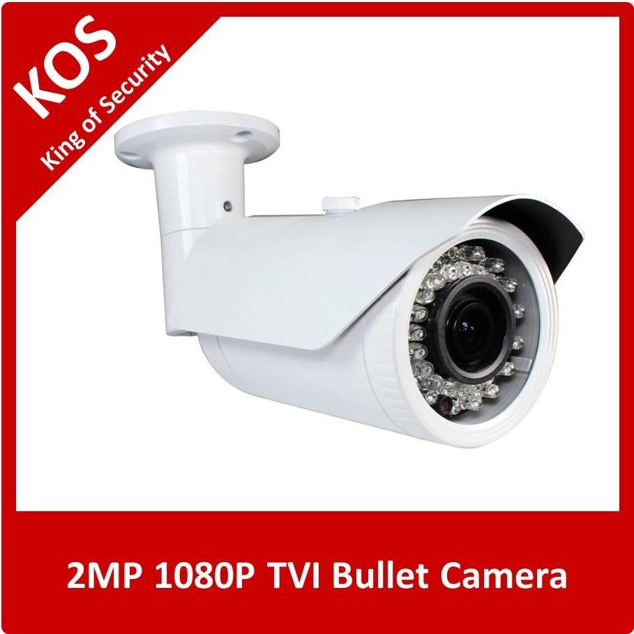 ФОТО KOS 1080P TVI Camera HD 2MP  2.8-12mm Lens IRCut Weatherproof 42pcs IR Leds Bullet Camera  for TVI DVR  with UTC