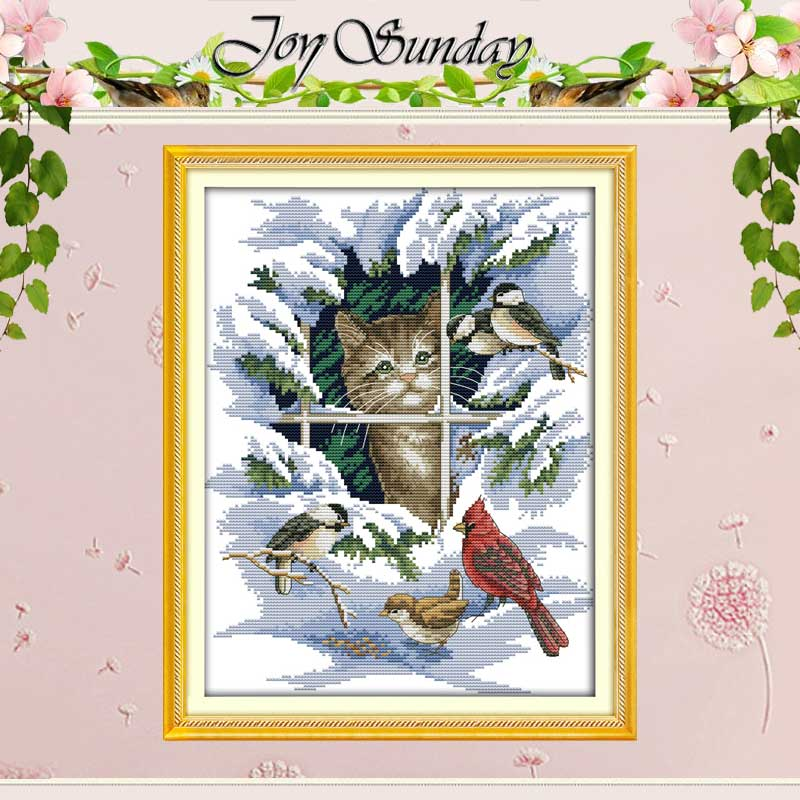 Kucing dan Burung pola Terhitung Cross Stitch 11 14CT Cross Stitch Set hewan Cross Stitch Kit Bordir Dekorasi Rumah Menjahit