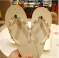 summer women rhinestones thong slippers diamond flats beach shoes hawaiian sandals shiny fancy sandal woman handmade flip flops