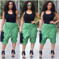 Women 2016 New Fashion Casual Summer Arrival O-Neck Sleeveless Black Tank Top And Green Knee-Length Pants Sets