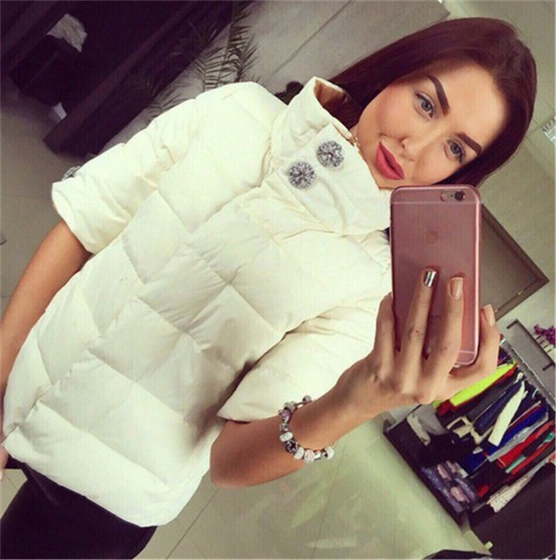 ФОТО Short sleeve cotton padded jacket,stand collar parka femme,autumn winter coat,female winter jacket wild parkas,coat women TT1558