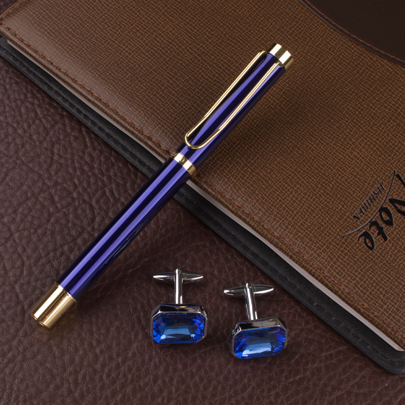 DIKA WEN Full metal Golden Clip luxury pen 0.7mm Nib Business school supplies Roller ball Pen Cufflinks Gift Set dikawen 891 gray gold dragon clip 0 7mm nib office stationery metal roller ball pen pencil box cufflinks for mens luxury