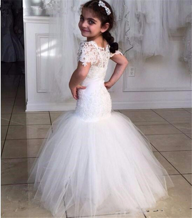 Elegant White   Flower     Girl     Dress   for Wedding Lace Up Back Mermaid Floor Length Kids   Girls     Dresses   Pageant Gown Custom Made Size