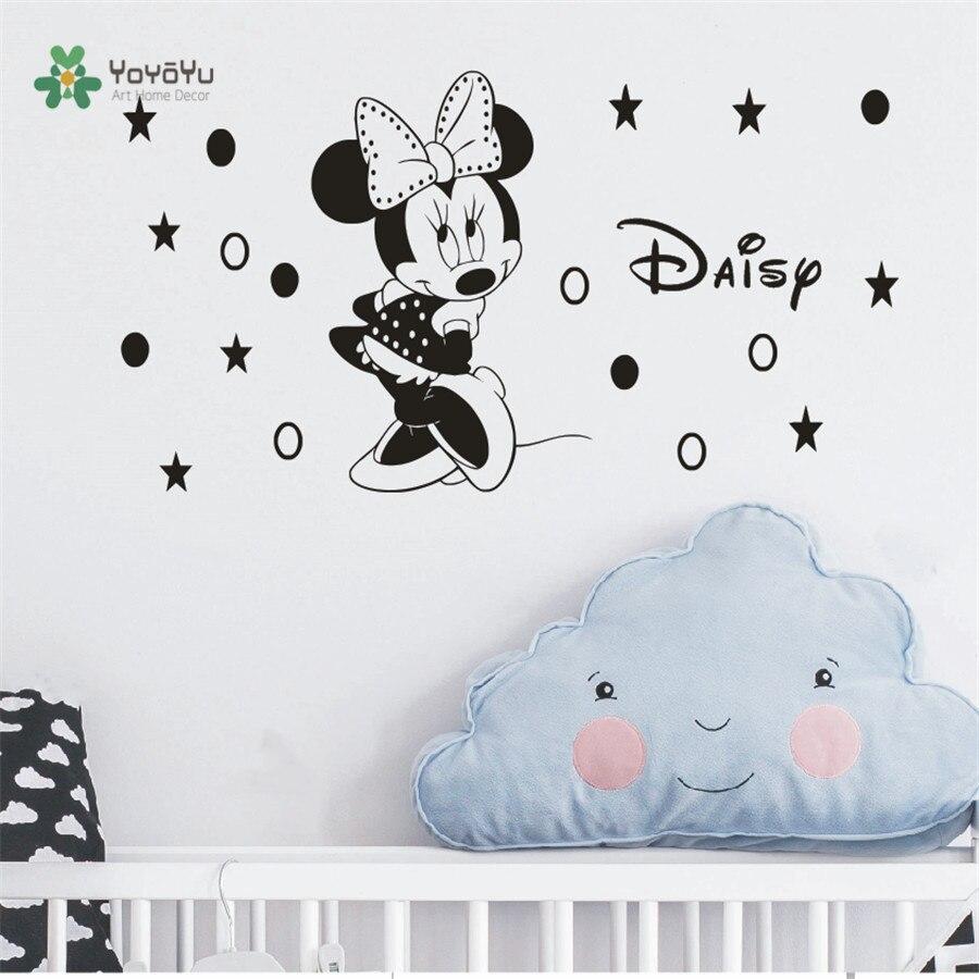 Eco friendly Home decoration DIY Cute Mouse Minnie Wall Sticker Baby Kids Name Custom Vinyl Art Decal Kids Room Decorative CB 9 in Wall Stickers from Home Garden