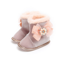 837096f1896c Beading Bow Knot Snow Boots For 0-18M Newborn Girls Winter Shoes Plush  Thicken Warm