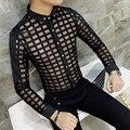 2017 Mens Ver Através de Camisas Transparentes Camisa Mens Camisas Xadrez Preto Branco Asiático Moda Trendy Mens Clube Outfit Camiseta Fino