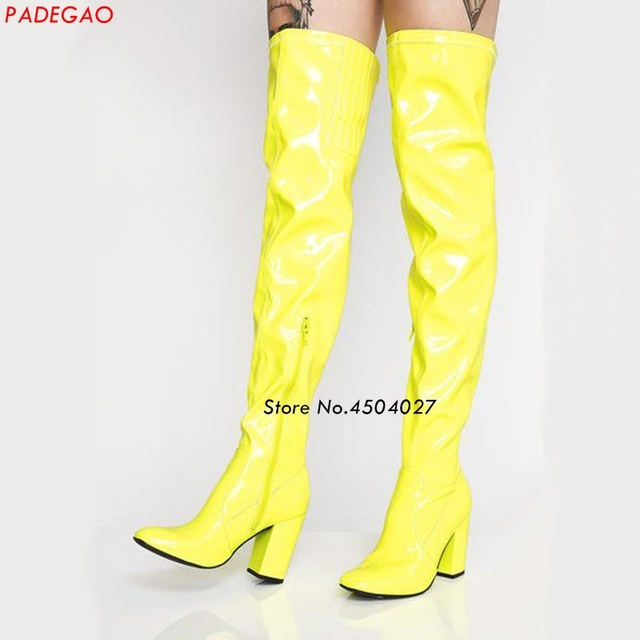 6622732803d Women-s-Thigh-High-Thick-Heel-Boots-Sexy-Women-Over-the-Knee-Boots -Yellow-Black-Patent.jpg 640x640.jpg