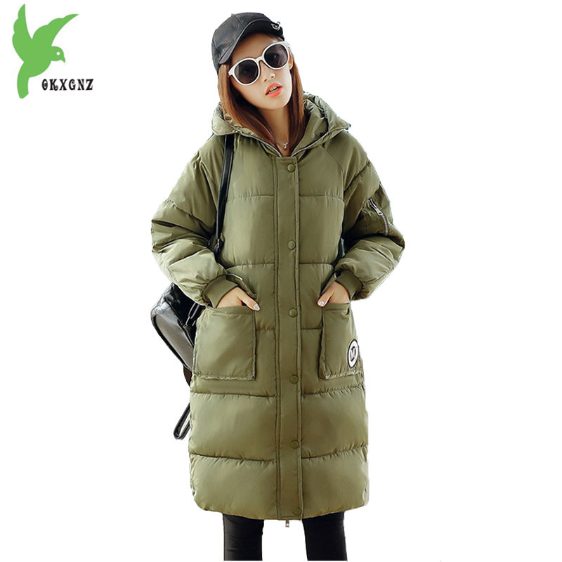 New Winter Women Feather Cotton Jackets Solid Color Hooded Long Coat Plus Size Loose Keep Warm Casual Tops Outerwear OKXGNZ A635 winter women s cotton jackets new fashion hooded warm coats solid color thicker casual tops plus size slim outerwear okxgnz a735