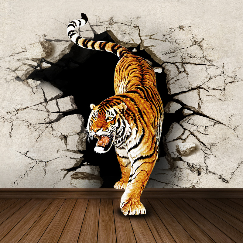 Mural 3d three dimensional wallpaper modern brief sofa bedroom wall wallpaper mural rhino tiger 3d wall murals wallpaper