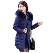 2016 Hot selling Fashion casual Ladies Slim down cotton warm Jacket female medium-long large plus size XL-7XL Winter Coats