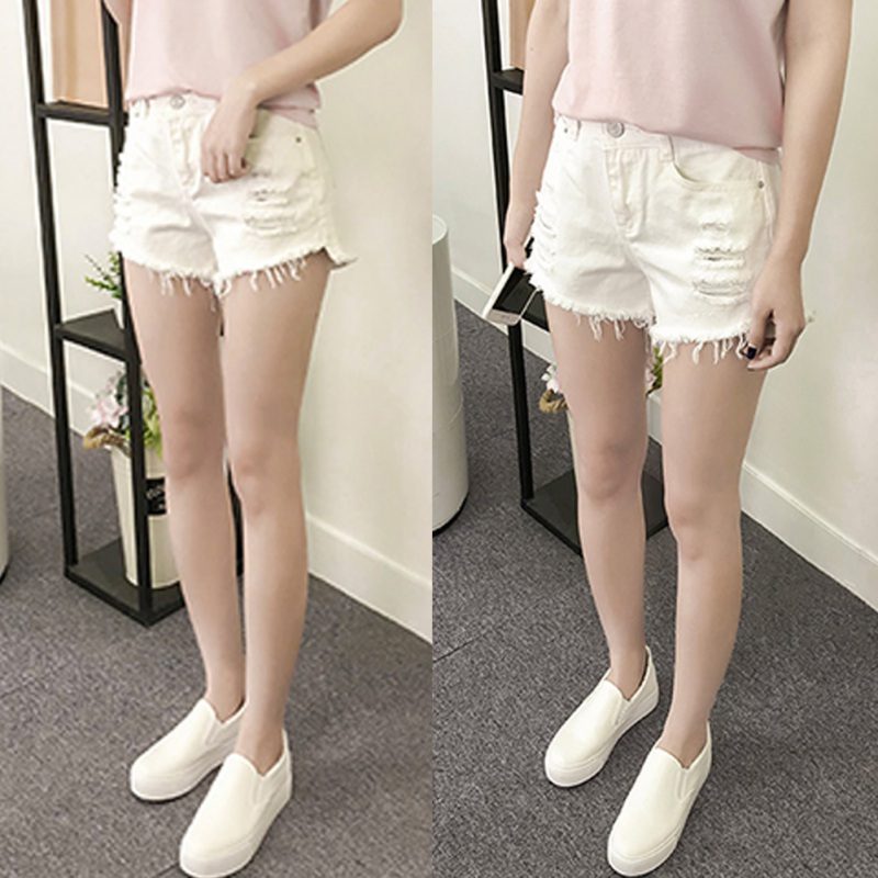 Women Summer Black White Hole Denim Shorts Female Loose Personality Raw Wide Leg Denim Shorts