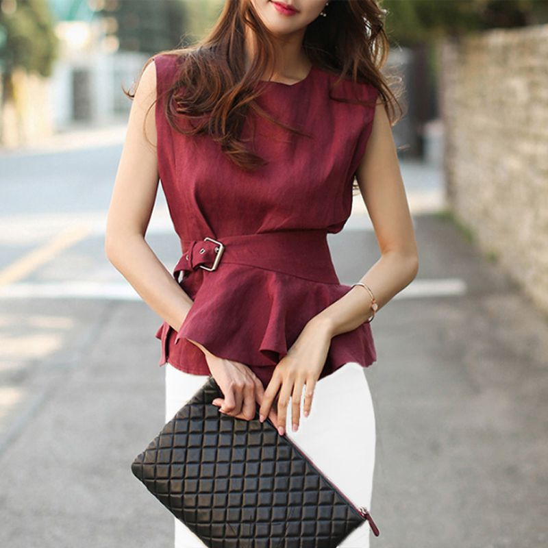 Summer Women   Shirts   Ruffles O-Neck Sleeveless Slim Solid Vest Cotton Hiplt   Blouse     Shirt   Red 928
