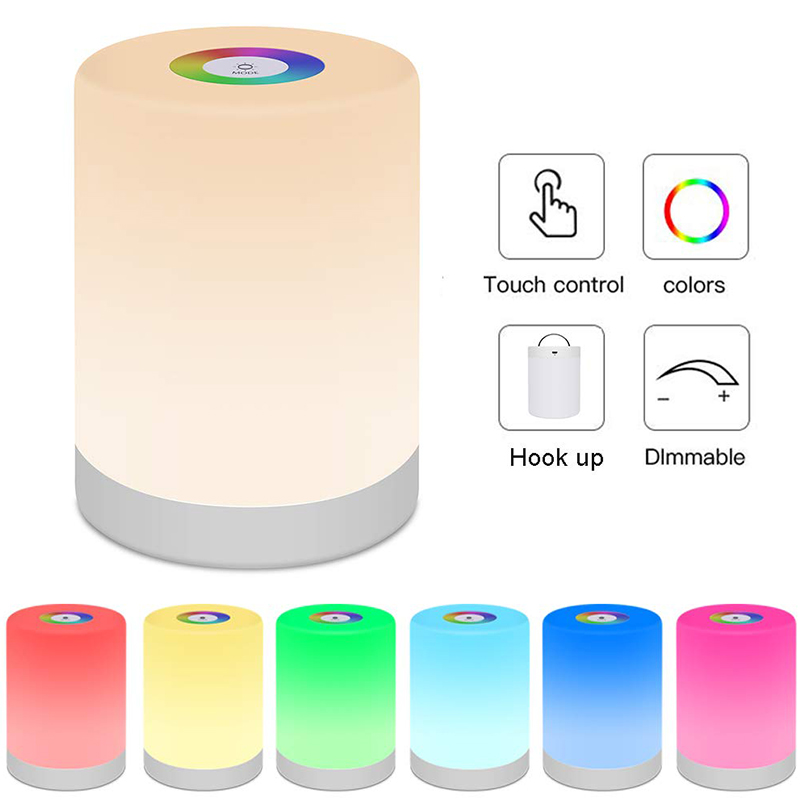 Colorful Dimmable Night Light Touch Control USB Charging Powered Lighting Multi-function LED Lamp For Bedroom Outdoor Lights