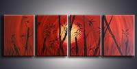 Große 4 Stück Bilder handbemalte Chinesischen Bambus Ölgemälde Handgefertigte Abstrakte Red Gemälde auf Leinwand Moderne Wohnkultur kunst