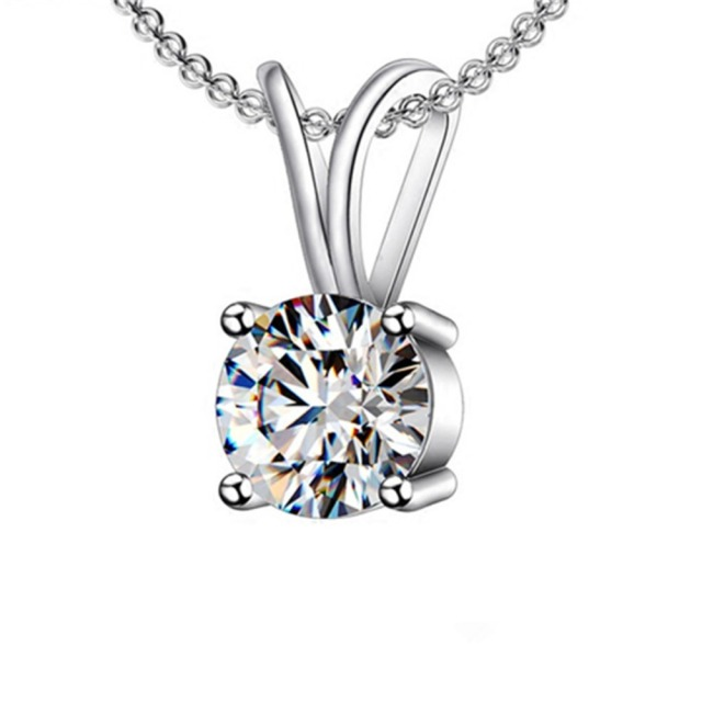 Free chain 1ct simulate solitaire diamond pendant prongs women free chain 1ct simulate solitaire diamond pendant prongs women engagement necklace sterling silver 18 inches white aloadofball Images