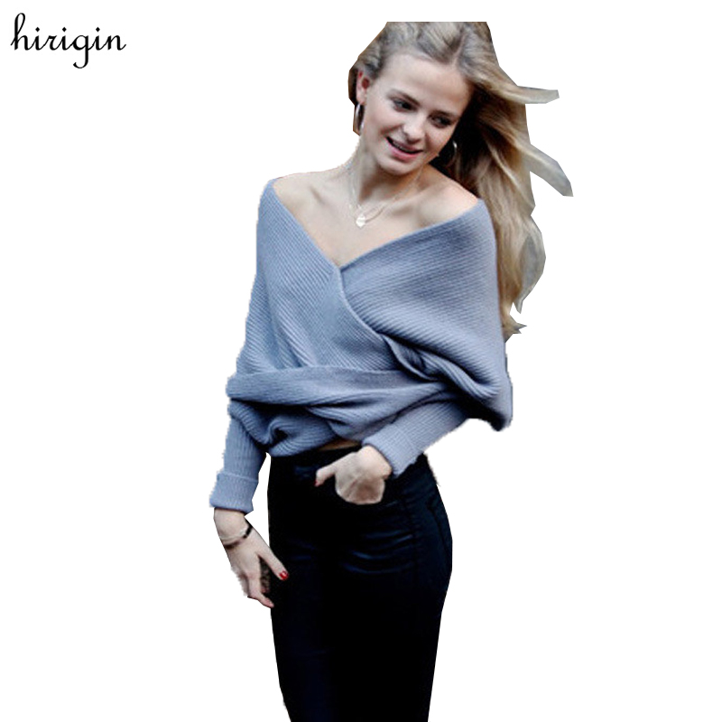 Sexy Women Elegant Off Shoulder Cross Twist Knit Sweater Loose Batwing Long Sleeve Sweaters Jumper PulloveTop