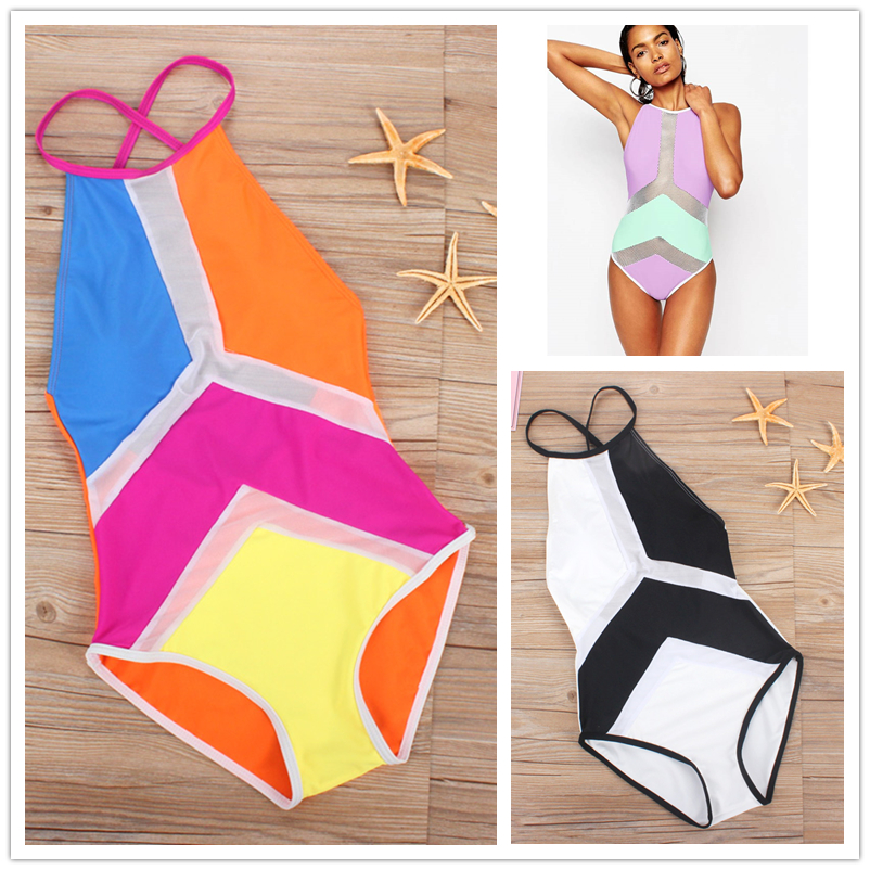 Mesh Monokini White Black High Neck One Piece Swimsuit Female Swimwear 2017 Patchwork Trikini One-Piece Bathing Suit High Waist new black swimsuit mesh high neck one piece swimwear high neck swim suit white monokini fold bathing suits for women bodysuit
