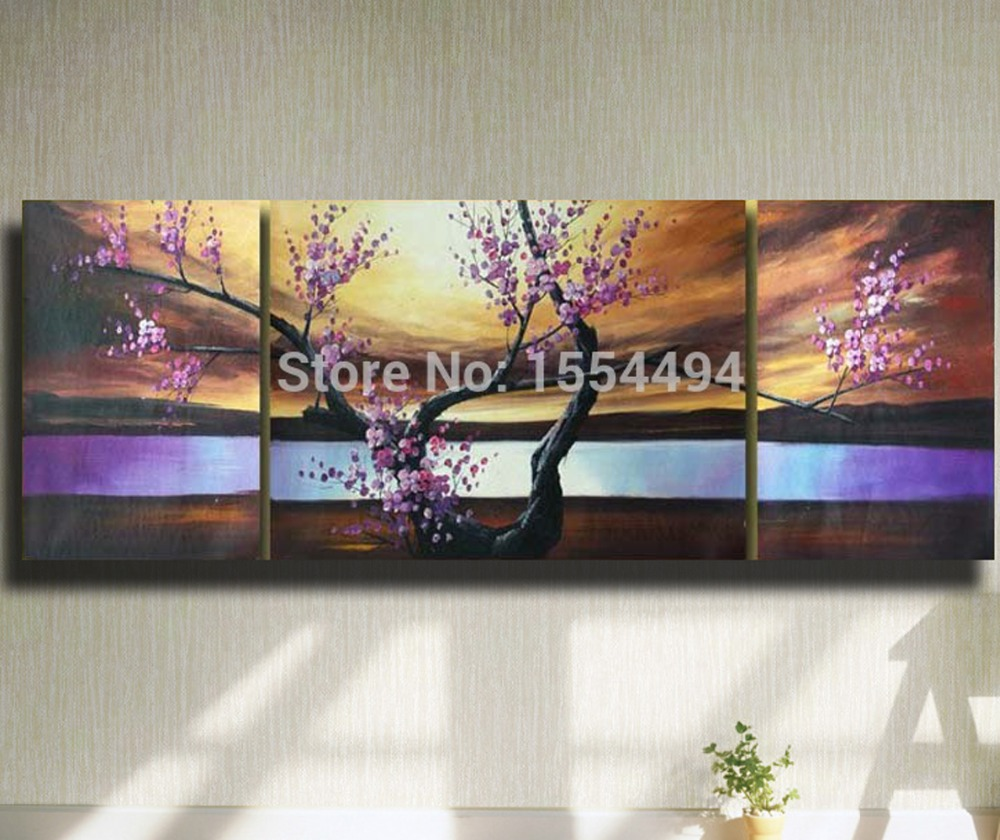 cheap framed hand painted large modern canvas oil painting japanese cherry plum flower picture abstract wall art home room decor