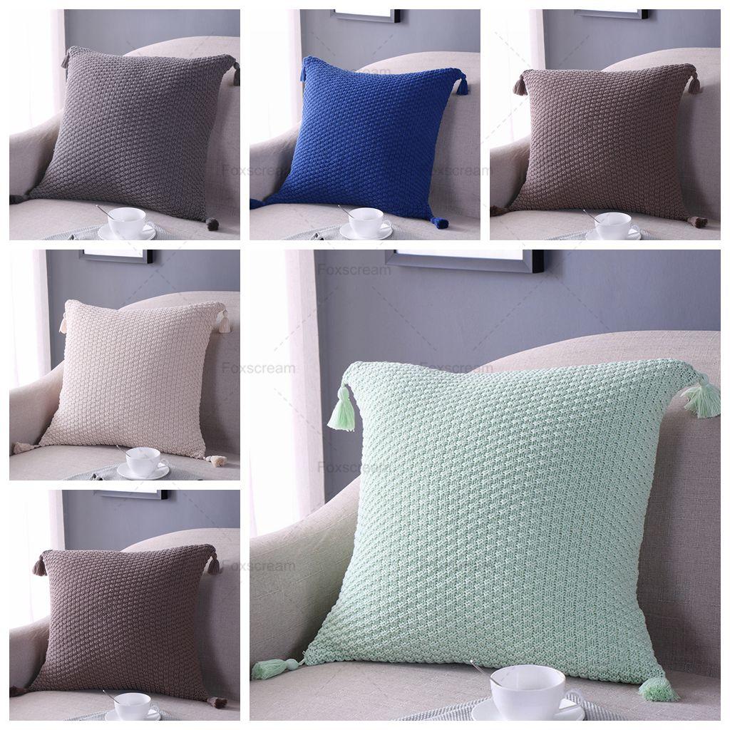 knitted Cushion Cover Home Decor Blue Gray Decorativve Pillows Case crochet cushion cover Vintage Throw Pillows For Sofa 45x45cm