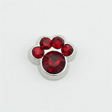 hot selling 10PCS pawprint  January  birthstone floating charms for glass floating lockets