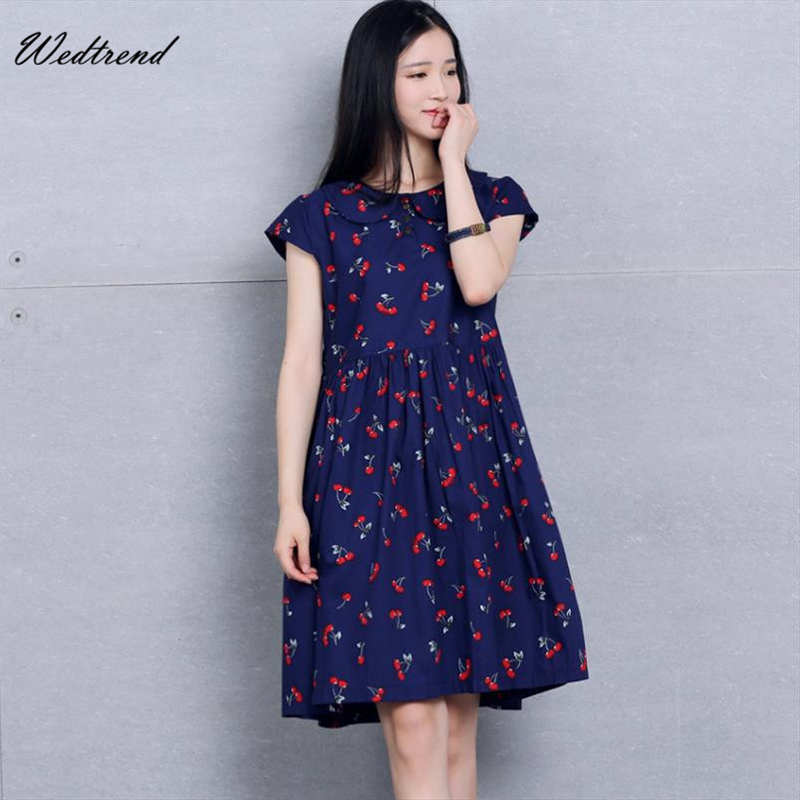 wedtrend loose cherries print plus size women dresses