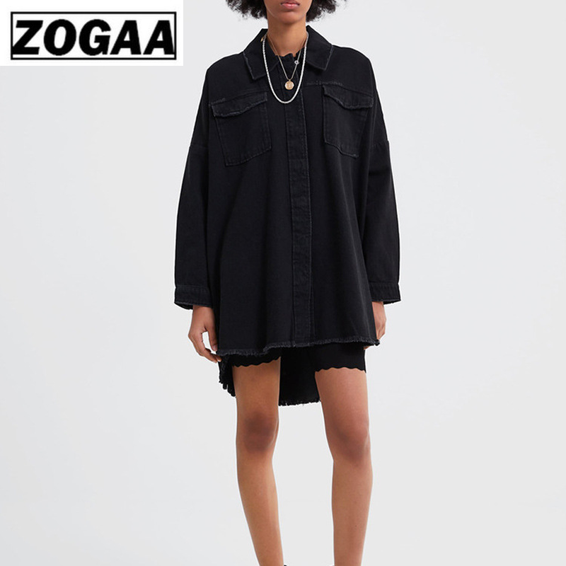 Spring 2019 New Women's Wash Denim Jacket Jacket With Short Front And Long Back Fringe