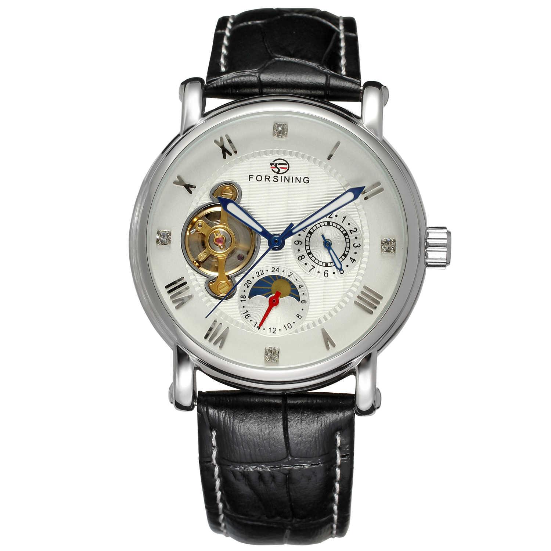 Forsining Top marka faza księżyca Shanghai ruch różowe złoto Case brązowa prawdziwa skóra męskie zegarki luksusowe Auotmatic sukienka zegar