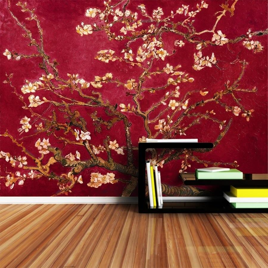Papier Gaufré À Peindre shinehome-rouge van gogh fleur d'amande peinture rouleaux de papier peint  pour murs 3d papiers peints pour 3 d salons papier peint peintures murales
