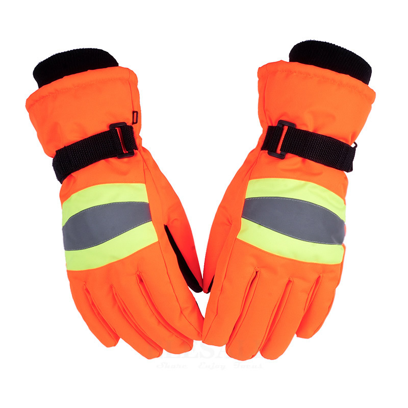 Winter Thermal Work Gloves With Reflective Strip Anti-Slip Anti-Wind Warm Gloves For Outdoor Sports Work Safety Hands Protection цена