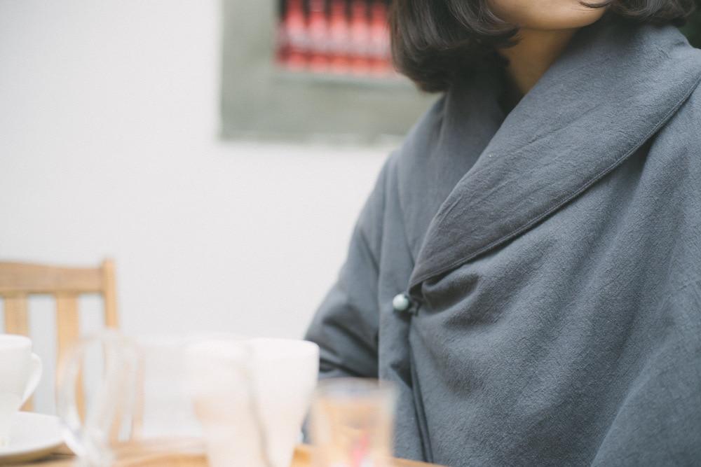 Gris Perles Jade Hiver Feminina Vintage Coton Rétro Linge Femmes Manteau Taille Automne Femelle Plus Veste rembourré Coton qxOEdaA
