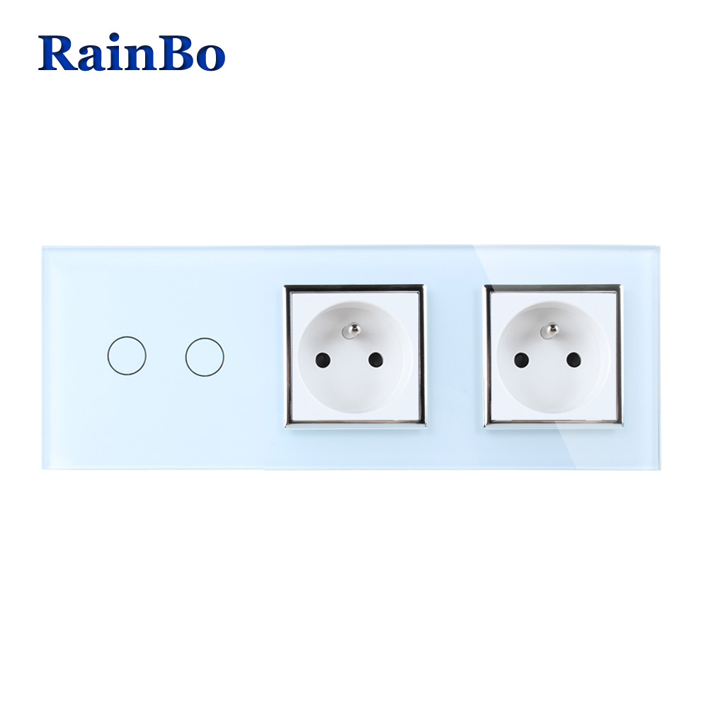RainBo Crystal Glass Panel France Power Socket EU Touch Socket Control Screen Wall Light Switch 2gang1way A39218F8FCW/B rainbo touch screen control tempered crystal glass panel wall light touch switch socket wall power usb socket a29118e2uscw b
