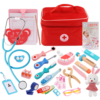 Juguetes de madera para niños, juego de simulación de Doctor, Kit de inyección de enfermera, juego de roles, juguetes clásicos, simulación de Doctor, juguetes para niños