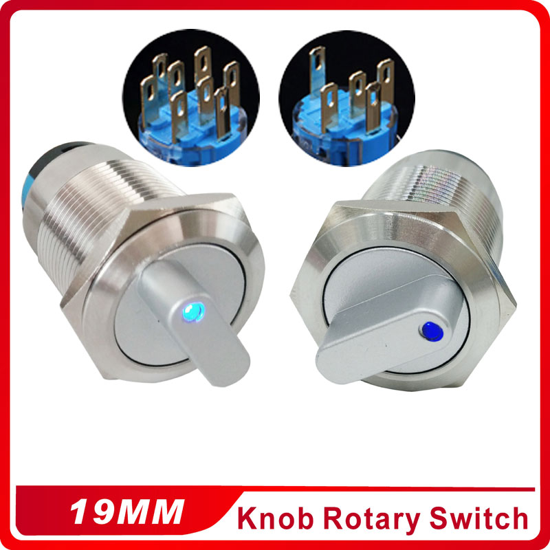 19mm 2 3 Position Switch Push Button Switch DPDT Illuminated Metal selector Rotary Switch with LED Waterproof Stainless Steel 19mm metal rotary push button brass latching 2 or 3 position switch press button rotary 2no 2nc nonc rotate button rotation