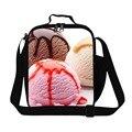 Sorvete 3D Padrão Almoço Sacos Térmicos para Crianças Meninos Bonitos cooler interno Saco de almoço sacos Lancheira Personalizado para Meninas escola