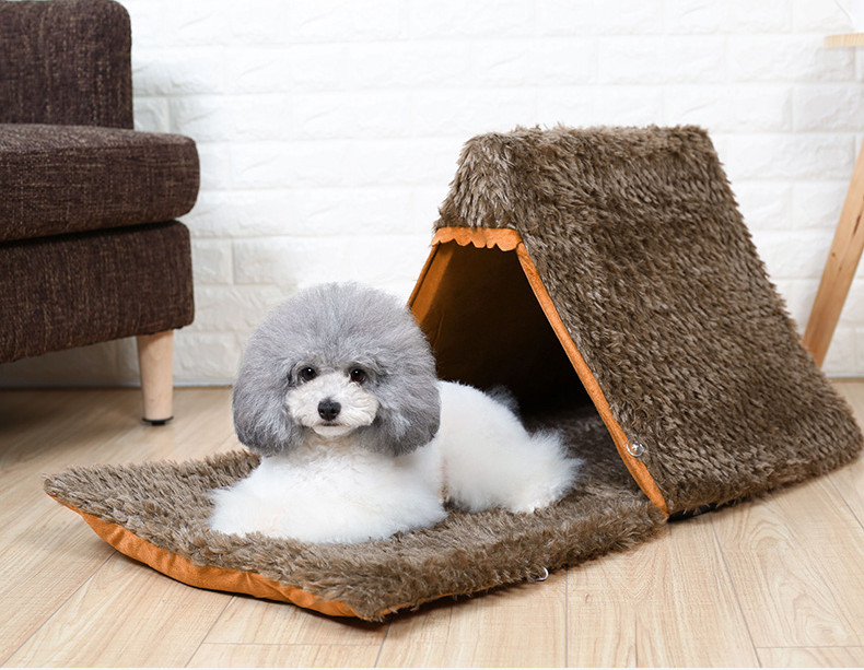 Autumn New Cat Small Dog Cave House Tepee Tents Short Plush Peacock Velvet Multinational Cat Bed Mats (7)