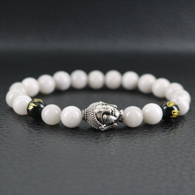 Buddha Bracelet Mens Grey Stone Tibetan Yoga Jewelry Gift Women Beaded Stack Healing Gifts