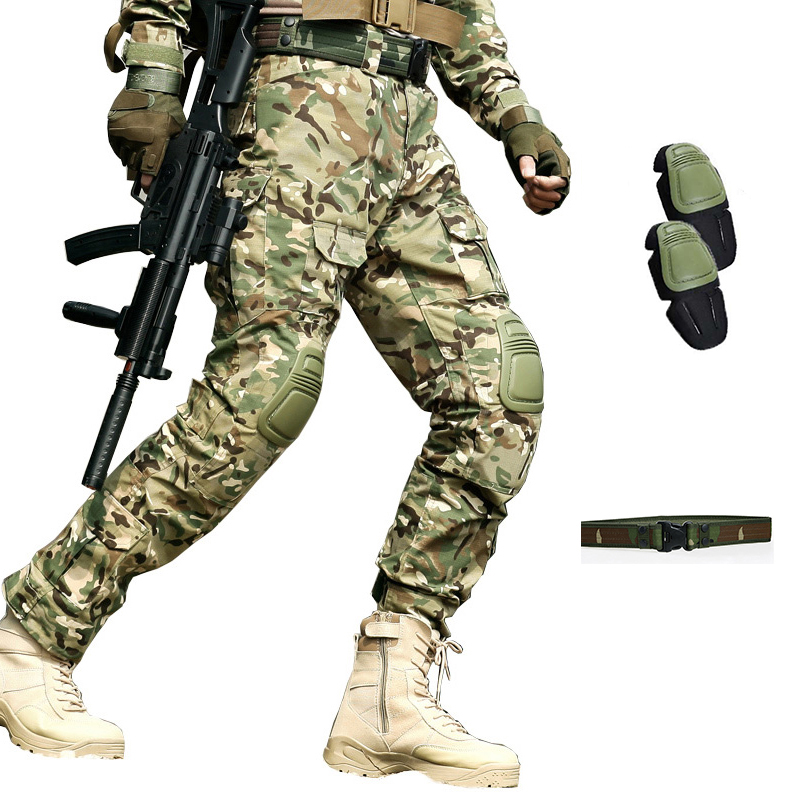 Military Tactical Pants Men Multi Pocket Pantalon Frog Cargo Camouflage Work Trousers Army Hunter SWAT Combat CS Pants Knee Pads