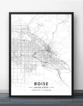 Плакат с картой Бойз ИД Айдахо США
