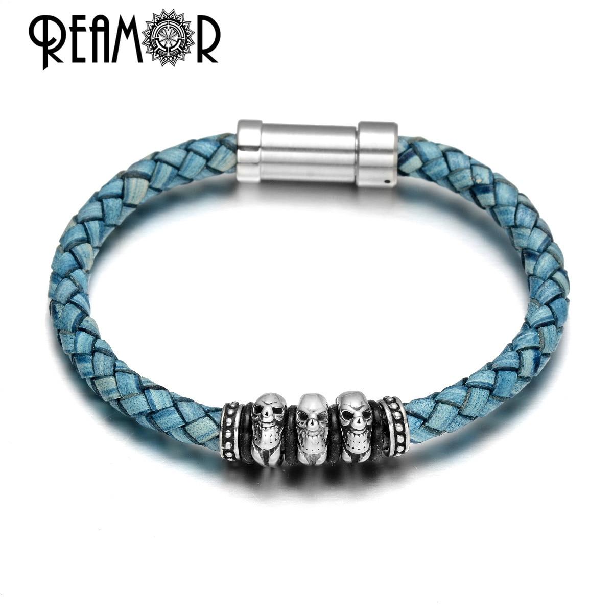 REAMOR Punk Style Stainless steel Skull Bracelet Retro Genuine Leather Braided Bracelets For Men Charm Jewelry Handmade Gift
