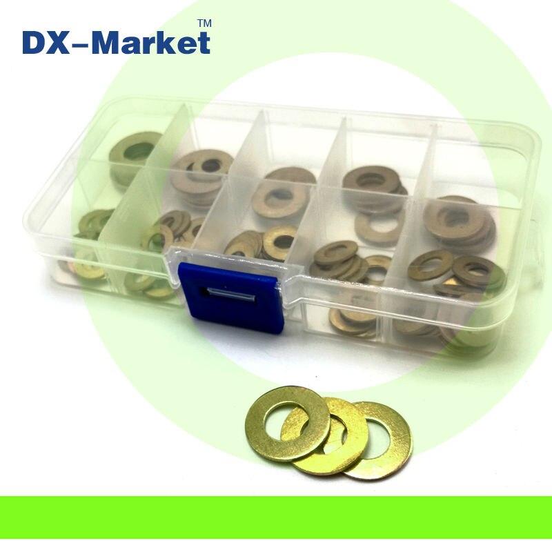 M3-M12, 120 pcs/ensemble, 7 taille en laiton rondelle plate kit, haute qualité en laiton rondelles ensemble, pièces de réparation de BRICOLAGE T0304