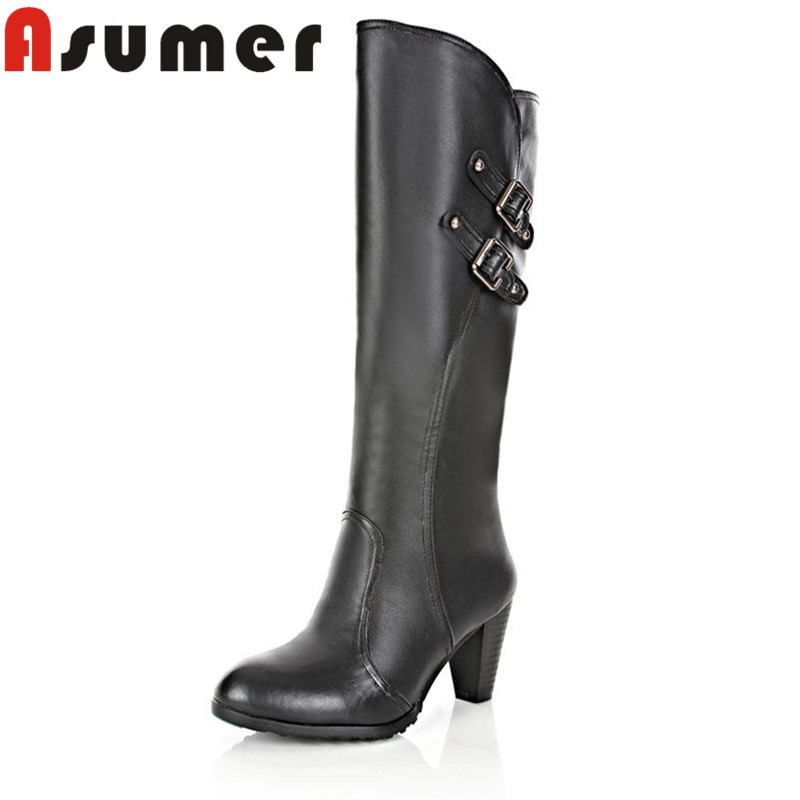 ASUMER 2018 NEW ARRIVE metal buckle mid calf boots boots fashion women winter boots solid round toe unique pu+genuine leather кусторез metabo ahs 36 65 v 602203000