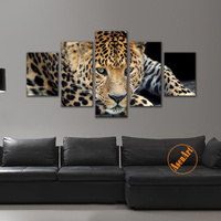 5 Panel Canvas Artwork Realist Leopard Painting Modern Home Decoration Wall Art Animal Picture Print With Frame