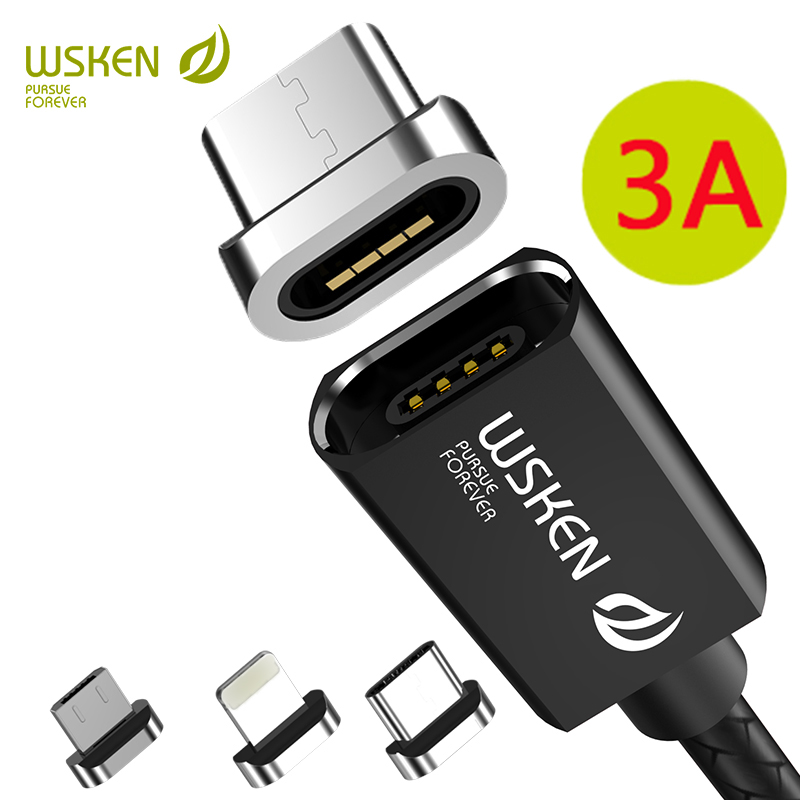 WSKEN X1 Magnetic Charging Wire Data Magnetic Cable for iPhone Charger Micro USB Cable 3A Fast USB Type C USB C Cable Micro USB|Mobile Phone Cables| |  - AliExpress