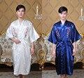 Cetim de seda Novo Verão homens Chineses Borde Kimono Yukata Kaftan Robe vestido Solto Pijamas Com Cinto M L XL XXL XXXL 011305
