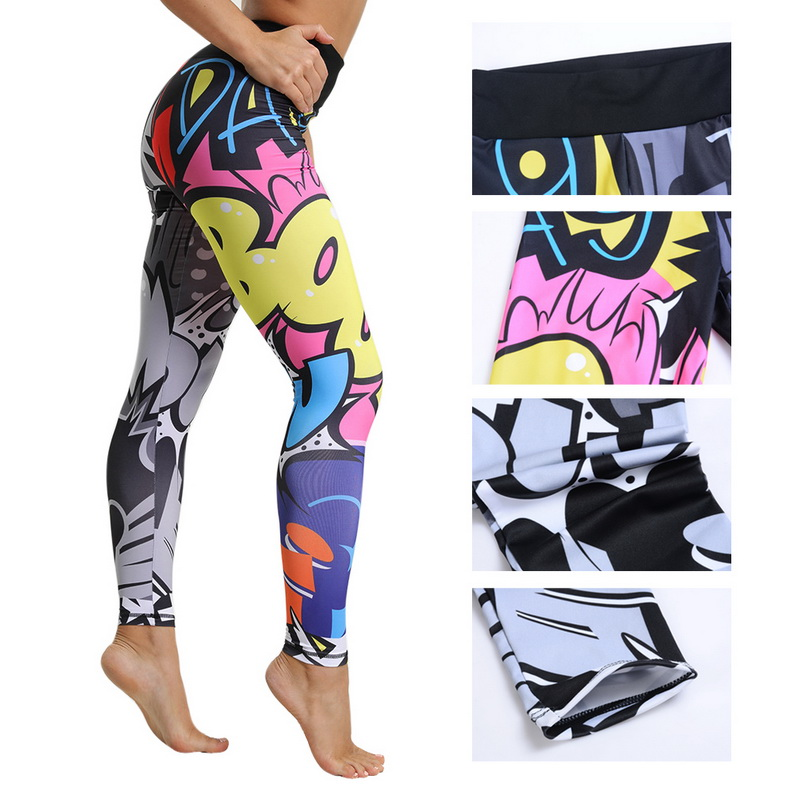 8 colors New Fitness Sport leggings Women Mesh Print High Waist Legins Femme Girls Workout Yoga Pants Push Up Elastic Slim Pants 59